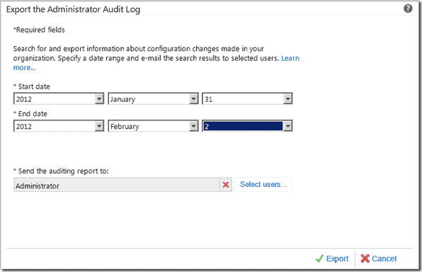 Export the Administrator Audit Log