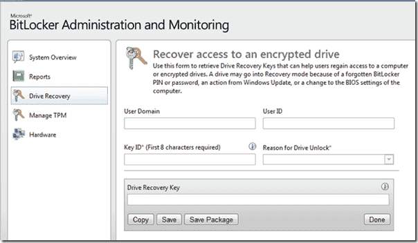 Microsoft Bitlocker Administration and Monitoring (MBAM)