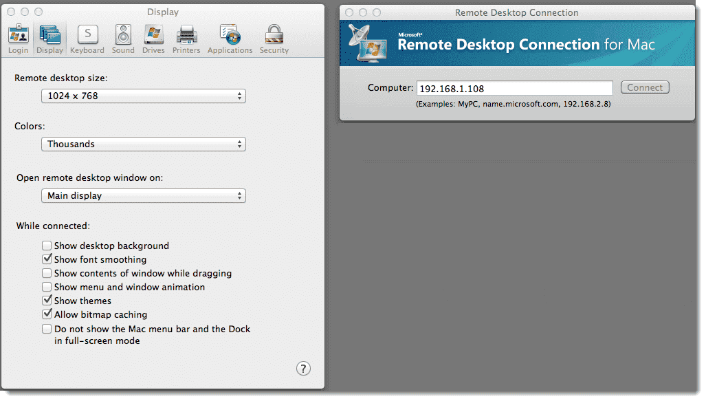 Mac-to-Windows Remote Desktop (RDP) and remote command