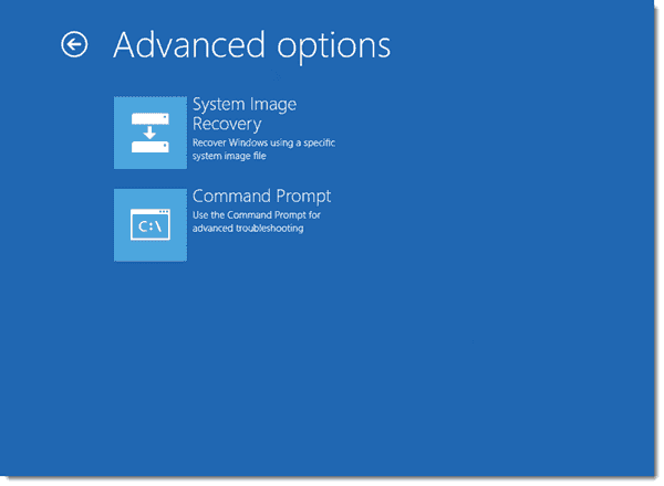 Windows 8 Server - Advanced recovery options