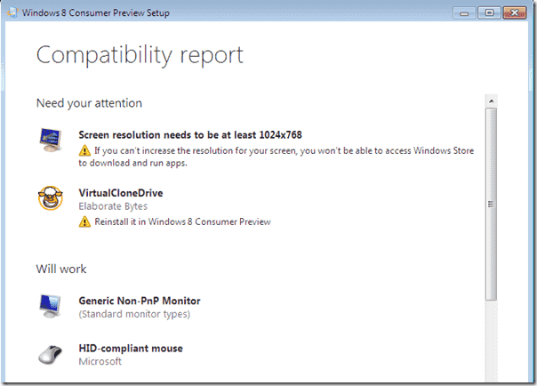 Windows 8 upgrade - Compatibility report