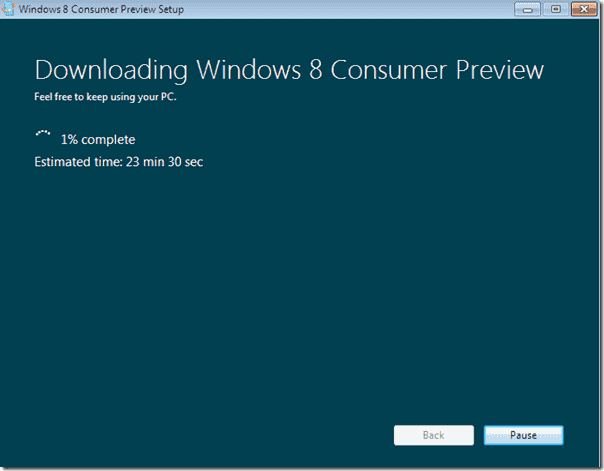 Windows 8 upgrade - Downloading Windows 8