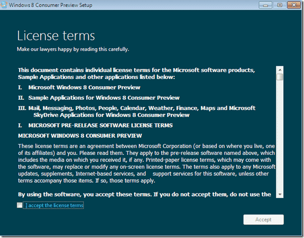 Windows 8 upgrade - License terms