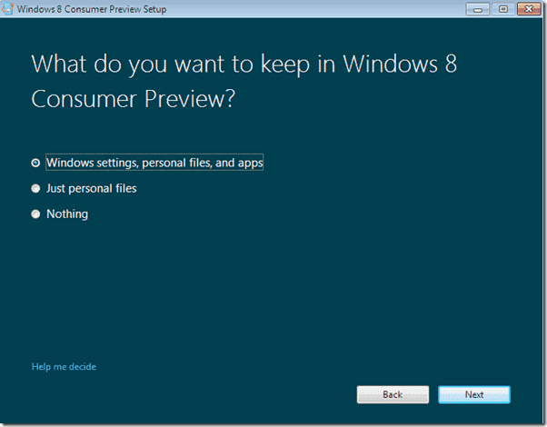 Windows 8 upgrade - What do you want to keep