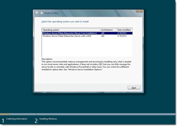 Windows Server 8 - Selecting an OS install option