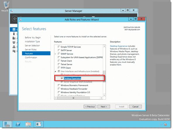 Disable Windows 8 Metro - Adding the Desktop Experience feature to Windows Server 8 Beta