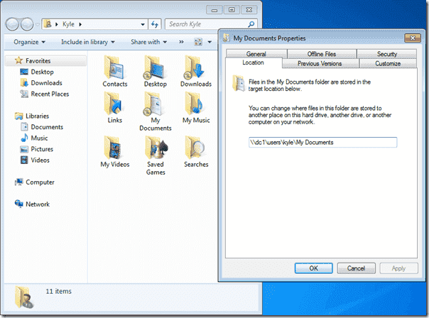 Folder Redirection - Documents Redirected in Windows 7