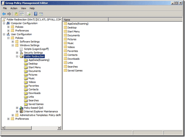 GPMC in Windows 7 Showing Folder Redirection