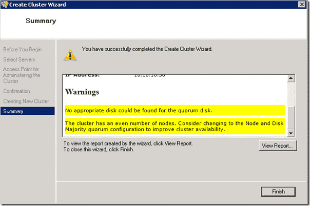 Hyper Cluster - Create Cluster Wizard warning regarding no quorum disk found