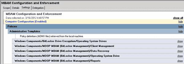 MDOP - Microsoft BitLocker Administration and Monitoring - MBAM GPO sample