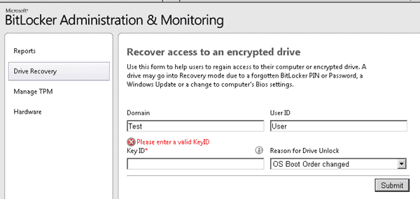 MDOP - Microsoft BitLocker Administration and Monitoring - MBAM - Recovery
