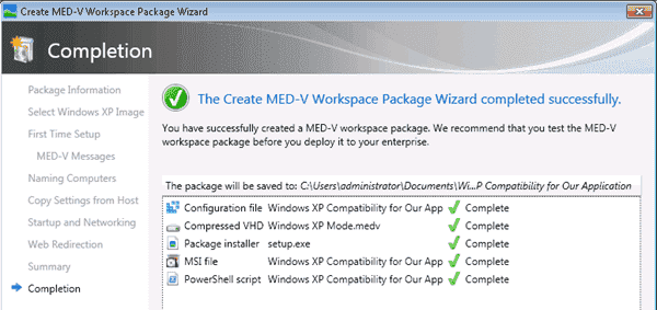 MED-V - Package creation completed successfully