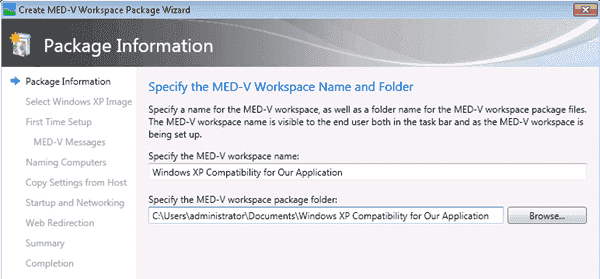 MED-V - Step 1 of the Workspace Package Wizard