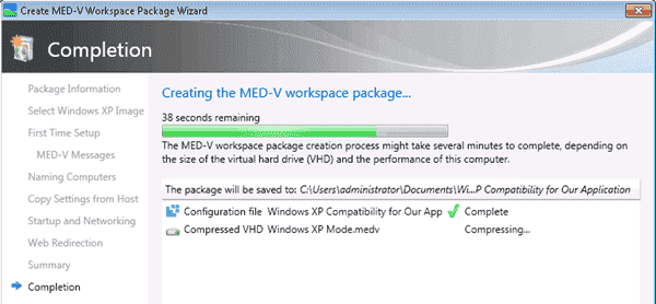 MED-V - workspace package creation