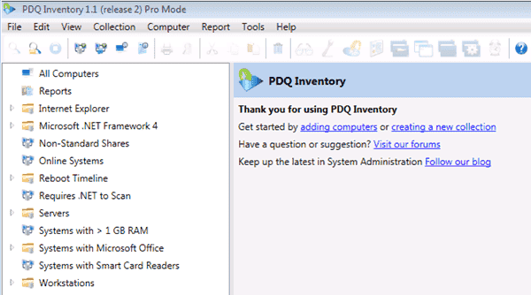PDQ Inventory - Welcome screen