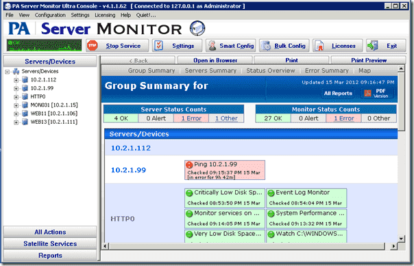 The PA Server Monitor interface