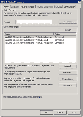 iSCSI Initiator connection for csv1 and vmquorum