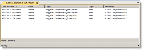 Active Directory auditing - Blackbird Auditor - Audit Viewer results