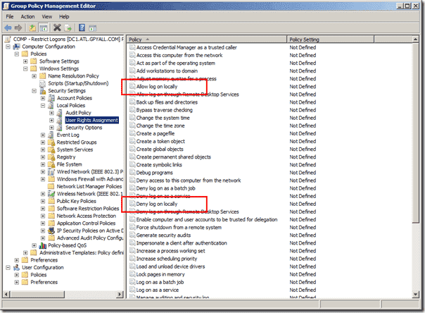 Deny logon - Setting in Group Policy Editor