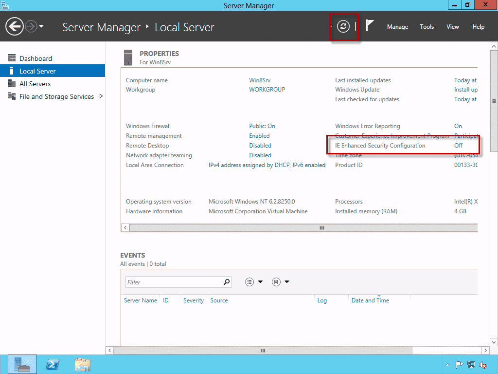How to configure the enhanced security configuration settings in IE