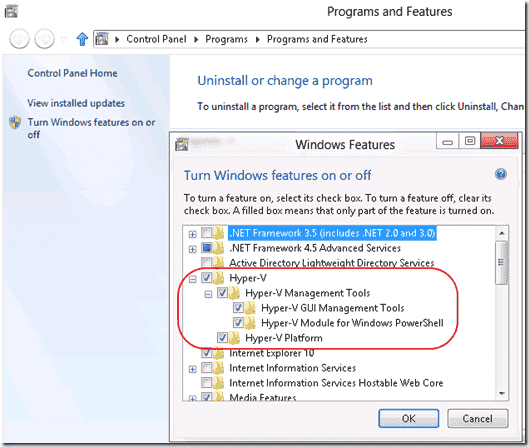 Enable Hyper-V Windows 8