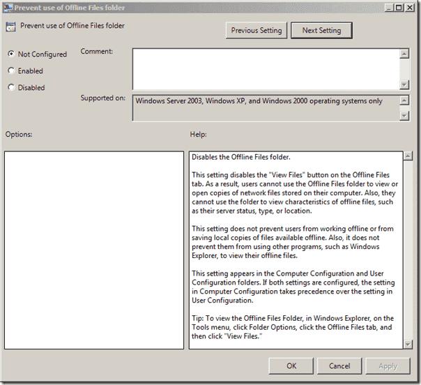 Folder Redirection - Prevent use of Offline Files