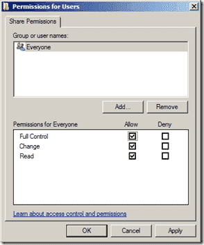 Folder Redirection - Share Permissions