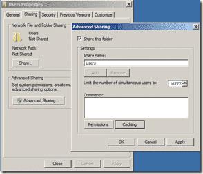 Folder Redirection - Share Properties
