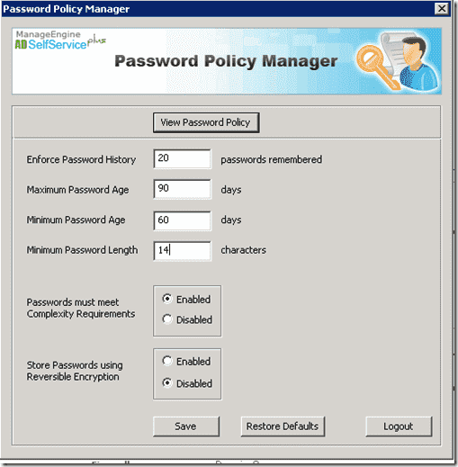 Free ManageEngine Free Active Directory Tools - Password Policy Manager