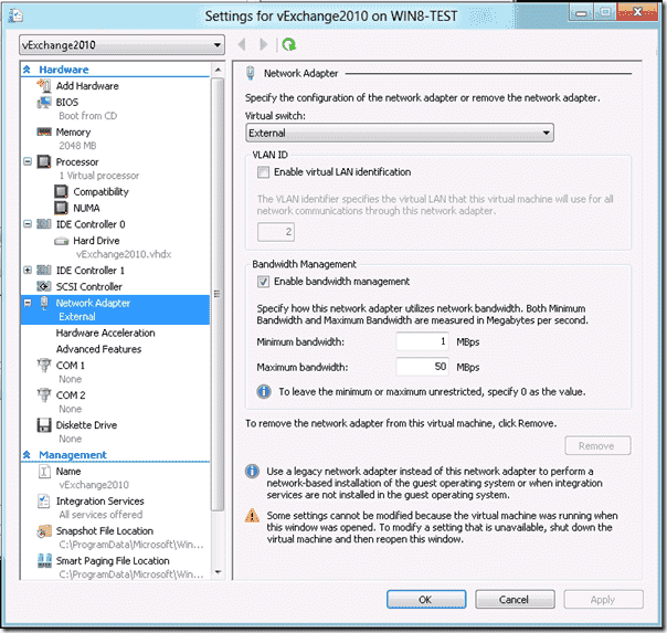 Hyper-V Windows 8 - Network adapter