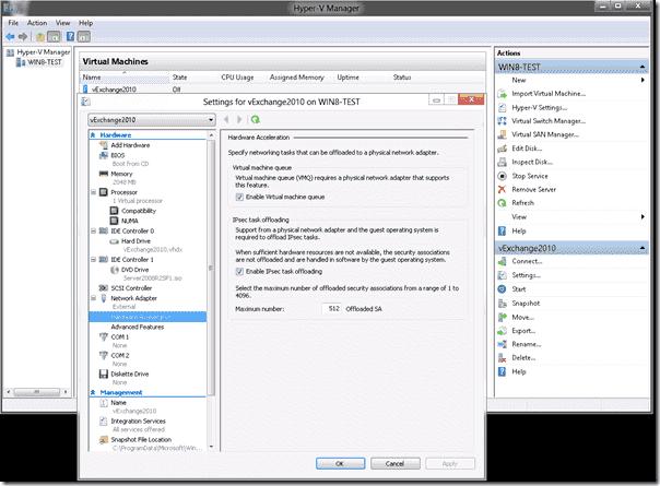 Hyper-V Windows 8 - Processor settings