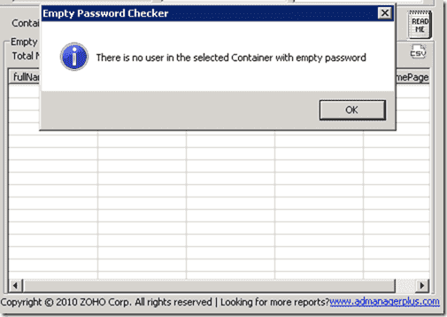 ManageEngine Free Active Directory Tools - Empty Password Checker