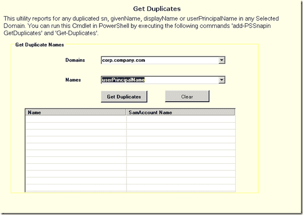 ManageEngine Free Active Directory Tools - Get Duplicates Tools