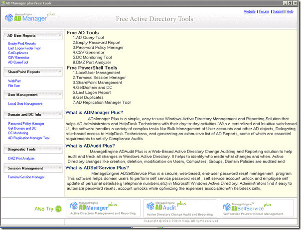 ManageEngine Free Active Directory Tools