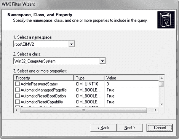 SmartDeploy OS deployment - WMI filter