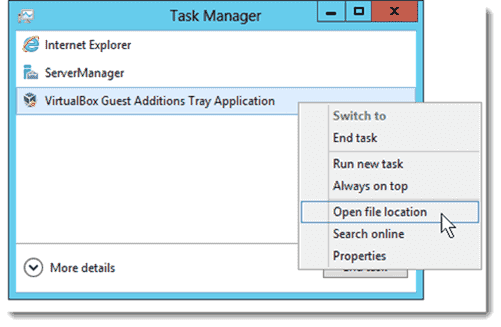 Task Manager application list