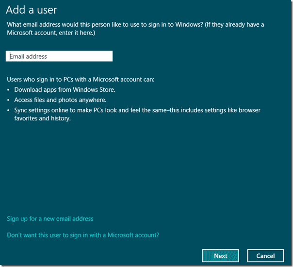 Windows 8 - Microsoft account