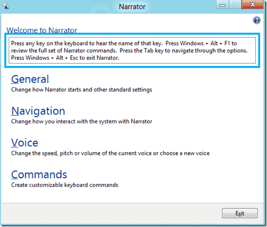 Windows 8 - Narrator