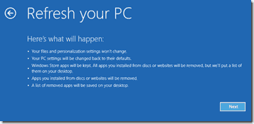Windows 8 - Refresh PC