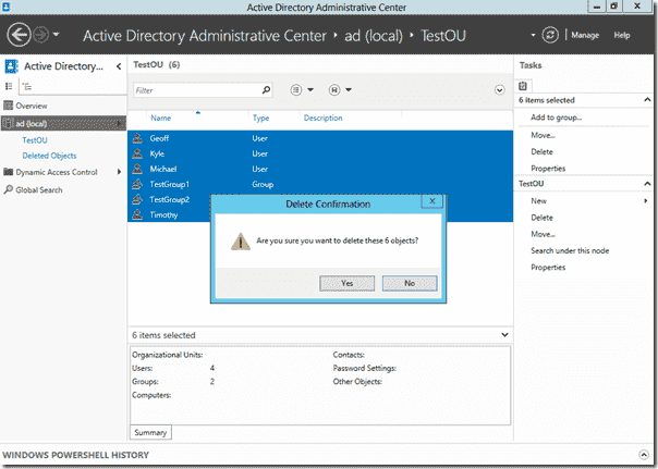 AD Recycle Bin Windows Server 2012 - Delete User objects in ADAC