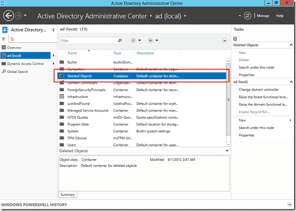 AD Recycle Bin in Windows Server 2012 - Active Directory Administrative Center