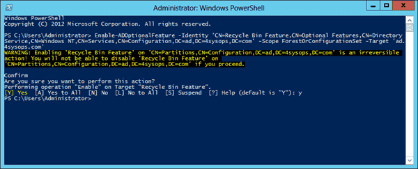 Enable Windows Server 2012 Active Directory Recycle Bin