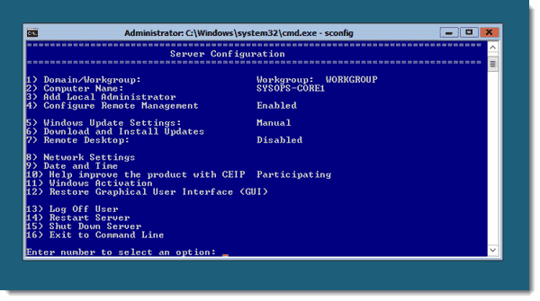 Sconfig in Windows Server 2012 Server Core