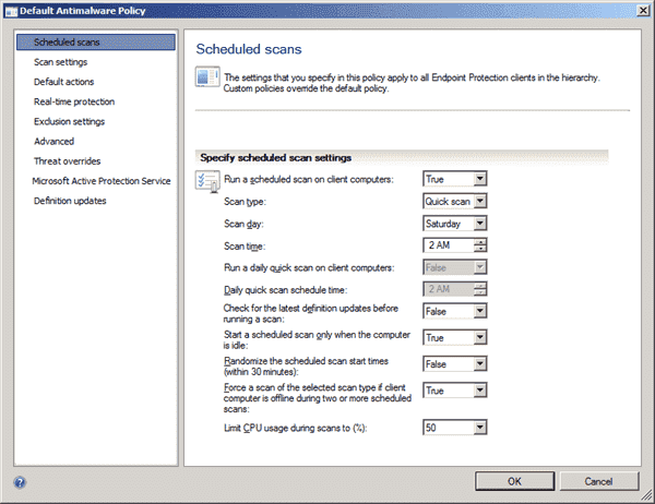 System Center Endpoint Protection - Antimalware Policy