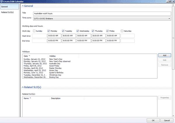 System Center Service Manager 2012 - Calendar