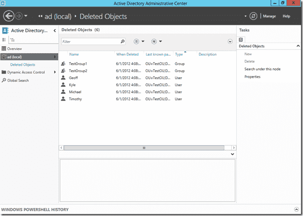 Windows Server 2012 Active Directory Recycle Bin - Deleted objects in ADAC