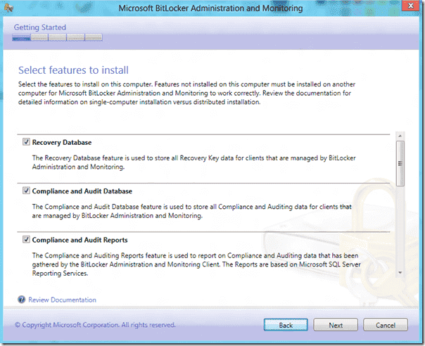 Bitlocker Administration and Monitoring server features