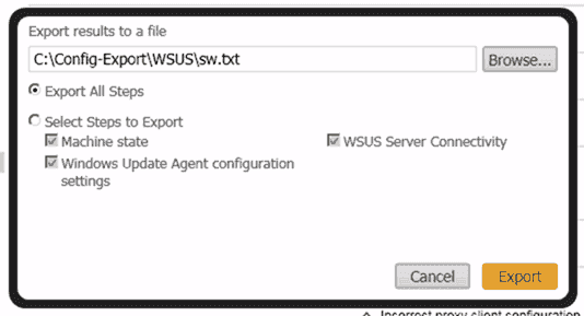 SolarWinds Diagnostic Tool for the WSUS Agent - Export results