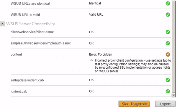 SolarWinds Diagnostic Tool for the WSUS Agent - Test results