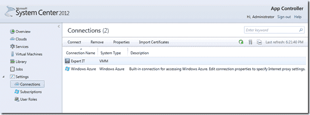 System Center 2012 App Controller - Connections